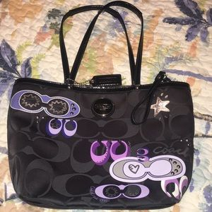 Coach 13x10 Purple & Black Pop Art Tote Purse